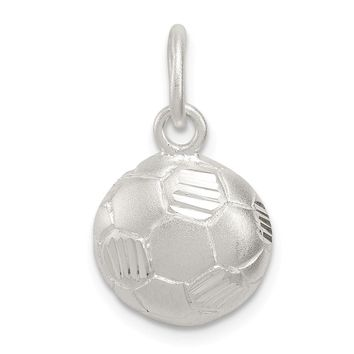 925 Sterling Silver Diamond Cut Soccer Ball Charm and Pendant