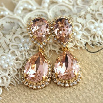 Vintage pink blush Bridal Chandelier Classic Swarovski Rhinestone earrings, wedding jewelry- 14k gold post earrings swarovski Champagne
