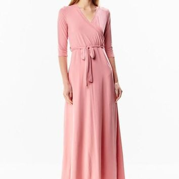 The Jonna Wrap Maxi - Blush - Available in 14 Colors