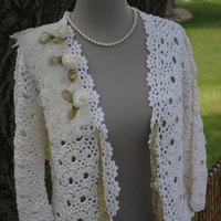 Crocheted Sweater with Crushed Toulle and Roses Romantic Wedding