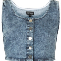 MOTO Vintage Denim Bralet - Jersey Tops - Clothing - Topshop USA