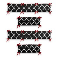 Sweet Jojo Designs Trellis Crib Bumper in Red and Black