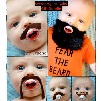 Secret Agent Baby Gift Bundle with 4 Hand Painted Custom Mustaches & 1 Hand Painted Custom Beard Pacifier by PiquantDesigns