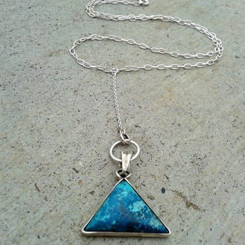 Chrysocolla Bright Blue and Green Stone Triangle Hanging Long Necklace Natural Chrysocola and Sterling Silver Sliding Dangling Pendant