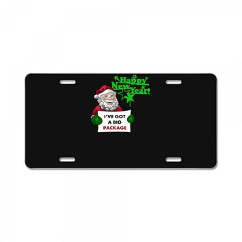 heapy new year funny santa claus christmas License Plate