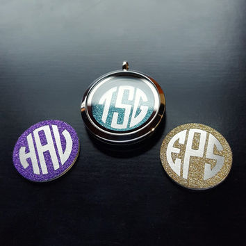 Monogram Window Plate for Floating Lockets-1 Piece-Gift Ideas
