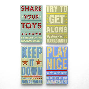 """By Order of the Management Art Blocks- Playroom Rules Set of 4- 4"""" x 7"""""""