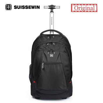 "Hot Sale Swiss Wheeled Backpack Black men's Trolley Travel Bag Light Carry on luggage Check in Bags Rolling 17"" Laptop Bag"