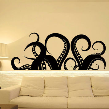 Wall Decal Kraken Octopus Tentacle Sea Animals Stickers Nautical Marine Ocean Decor Bathroom Living Room Bedroom Wall Art Home Decor C093