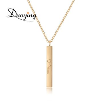 DUOYING Personalized Name Choker Necklace Wish Supplier Square Bar Customize Name Necklaces & Pendants Gold Color Collier Femme