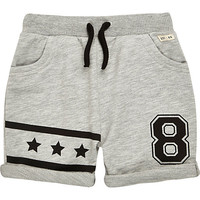 River Island Mini boys grey jersey star print shorts