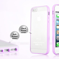 TPU BUMPER WITH CLEAR HARD BACK CASE FOR APPLE iPHONE 4 4S & iPHONE 5 5S COVER