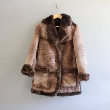 Genuine Suede Leather Coat 100% Pure Wool Fur Shearling Lining Hippie Boho Suede Jacket Vintage 70s 80s Size  S - M #O115A