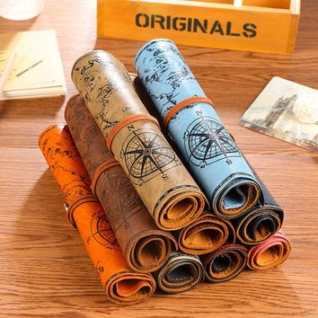 Creative Fashion Vintage Leather Pencil Case Treasure Map Pirate Pencil Bag Makeup Brush Bag Gift Stationery School Supplies