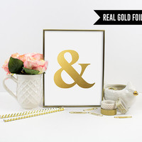 Real Gold Foil Print. Ampersand Art Print. Modern Home Decor. Grammar Poster. Chic Wall Art. Typography Poster. Office Art.