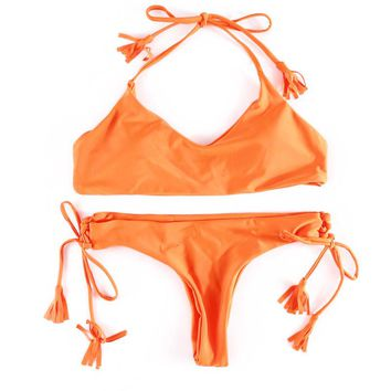 Orange Seamless Tassel Brazilian Bikini Set
