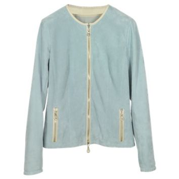 Forzieri Designer Leather Jackets Light Blue Perforated Suede Women's Jacket