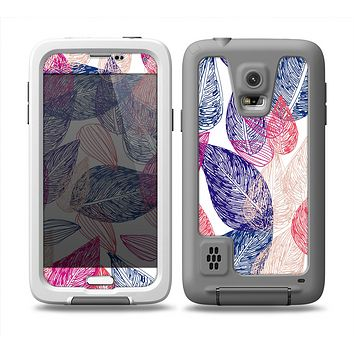 The Seamless Pink & Blue Color Leaves Skin Samsung Galaxy S5 frē LifeProof Case