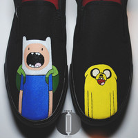 Adventure Time Adult / Youth HandPainted Slipons by OddlyIndie