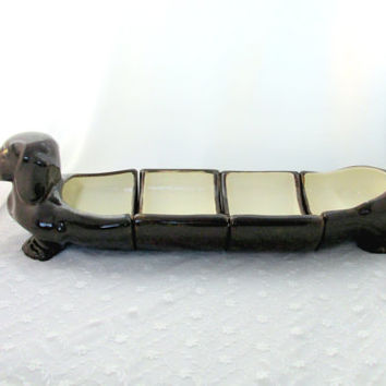 Dachshund Wiener Dog Serving Dish Set With Four Sections Black Glazed Ceramic Mid Century Kitsch Kitchen Collectible Gift Item 2271