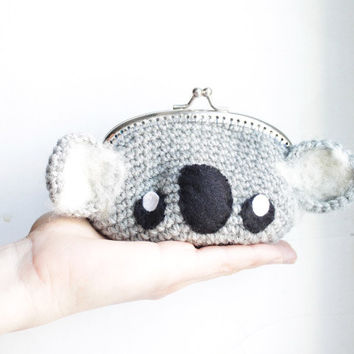 Koala crochet purse clutch