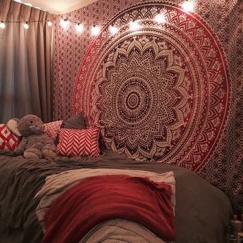 Maroon Floral Ombre Mandala Wall Tapestry Bedding, Beach Throw on RoyalFurnish.com