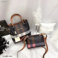 2018 Burberry Fashion Women Leather Shoulder Bag Satchel Tote Handbag Crossbody Two Piece Set G