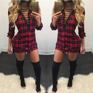 Streetstyle  Casual Red Plaid Print Drawstring Plunging Neckline Mini Dress
