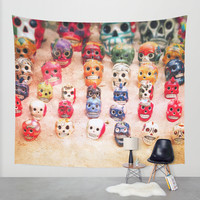 Sugar Skulls Wall Tapestry by Jenndalyn