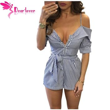 Dear Lover Summer Playsuits Hot Sexy Spaghetti Strap Blue Striped Condole Belt Cut out Belt Short Jumpsuit Womens Romper LC64291
