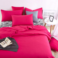 Bedding Sets Summer Home Zebra Bed Sheet and Rose Red Duver Quilt Cover Pillowcase Soft and Comfortable King Queen Full Twin