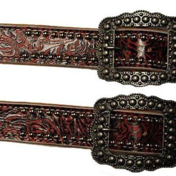 Red Wide Spur straps Tool Print W/Silver Spots & Buckles
