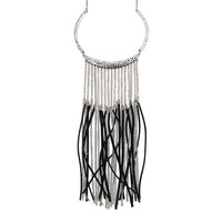 Eden Antique Silver and Black Faux Suede Chains Fringe Statement Necklace