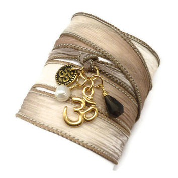 Silk Ribbon Wrap Bracelet with Om Charms, Pearl, and Smoky Quartz  by charmeddesign1012