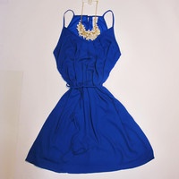 Mae Sleeveless Dress With Button Detail: Royal Blue