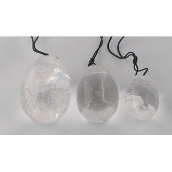 Clear Quartz Yoni Eggs- Set of Three