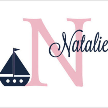 Nautical Sailboat Monogram Vinyl Wall Decal Sailboat Deacal Preppy Nautical Nursery Decals Vinyl Wall Decals Housewares Everything Else