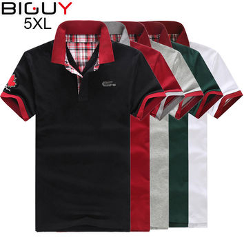 Plus Size 3xl 4xl 5xl Men Polo Shirt Short Sleeve Fashion Cheap Mens Polos 2017 Casual White Black Male Polo Shirts 5 Colors 360