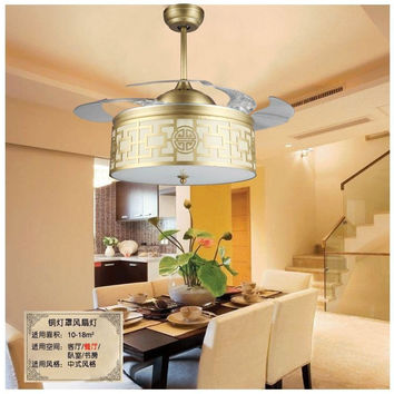 42Inch Copper Shade Ceiling Fan Lights Led Chinese Style Living Room Study Bedroom Fashion Fan Light Ceiling Stealth