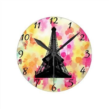 Eiffel Tower Round Clock