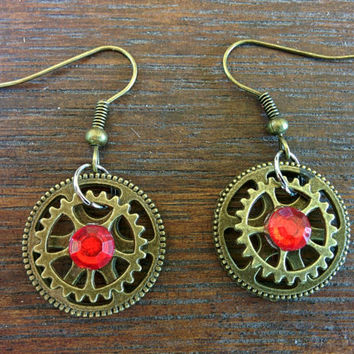 Steampunk Rhinestone Ruby Earrings