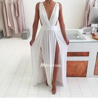 White Deep V Neck High Slit Chiffon Maxi Party Dress With Open Back