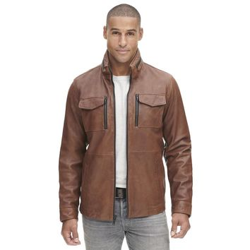 Famous Maker Leather Shirt Collar Jacket w/ Open Bottom - Leather Outerwear - Clearance - Wilsons Leather
