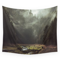 Society6 Foggy Forest Creek Wall Tapestry