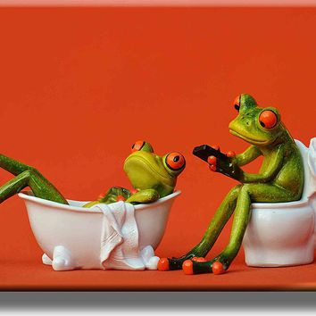 Frogs in the Bathroom Picture on Acrylic , Wall Art decor, Ready to Hang!