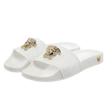 Versace Women Men Fashion Casual Logo Print Slipper Shoes White G