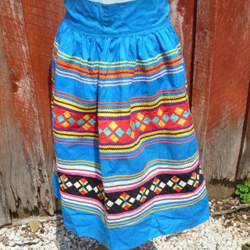 Brightly Colored Cherokee Apron, Beautifully Pieced Tiny Quilt Squares and Rick Rack, Great Colors