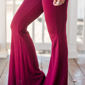 Cher Solid Flare Pants - Burgundy