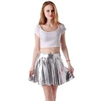 HDE Women's Shiny Liquid Metallic Wet Look Flared Pleated Skater Skirt (Silver, Medium)