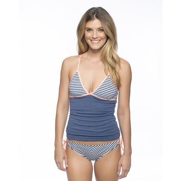 Striped Modest Swimming Top and Low Waist Bottom